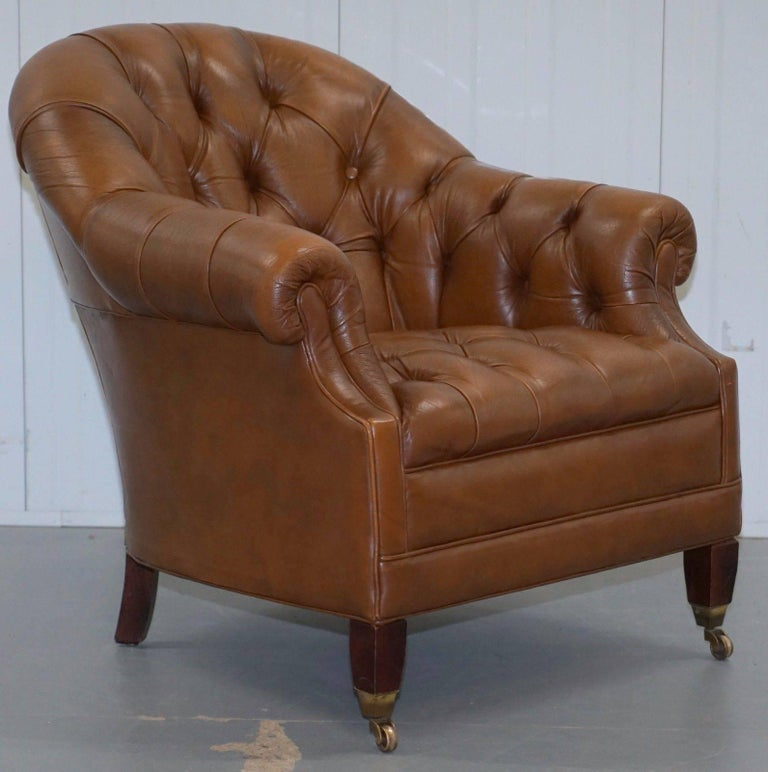 Vintage Chesterfield Aged Brown Leather Club Armchair ...