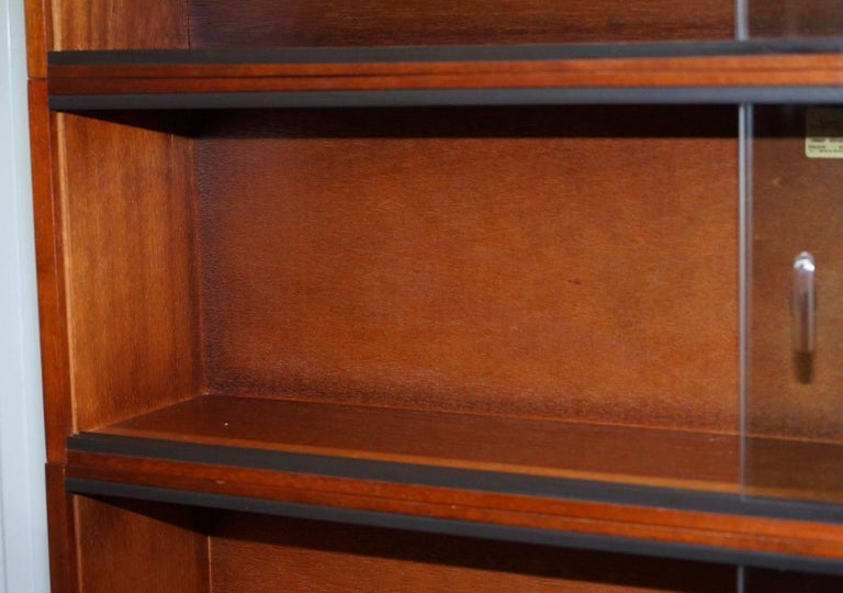Hand-Carved 1960s Simplex Mahogany Full Sized Library Stacking Bookcases Five-Piece For Sale