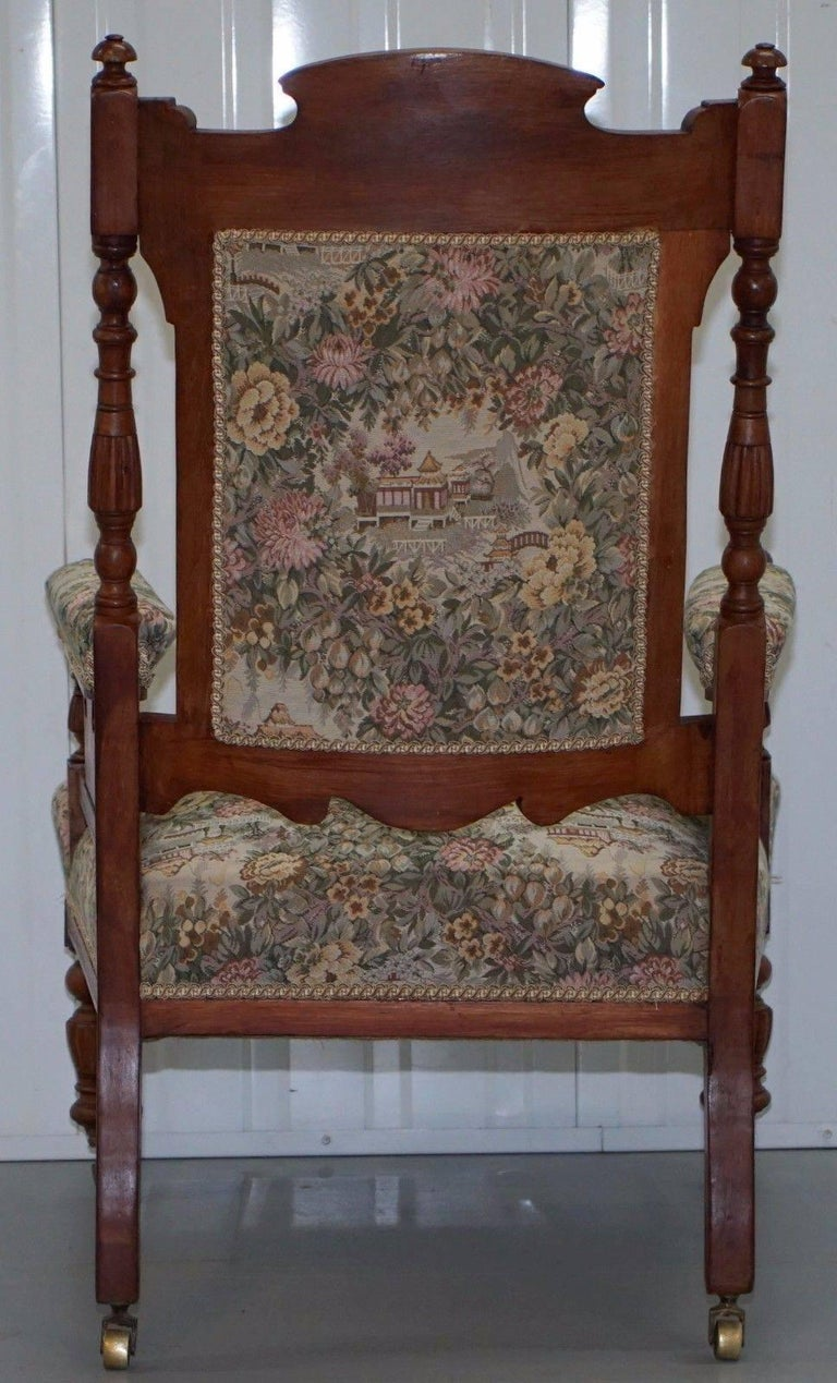 Victorian Embroidered Carved Oak Framed Library Reading Chair Gillows Style Legs For Sale 1