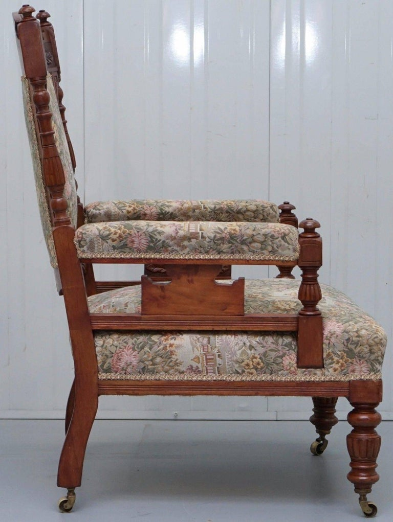 Fabric Victorian Embroidered Carved Oak Framed Library Reading Chair Gillows Style Legs For Sale