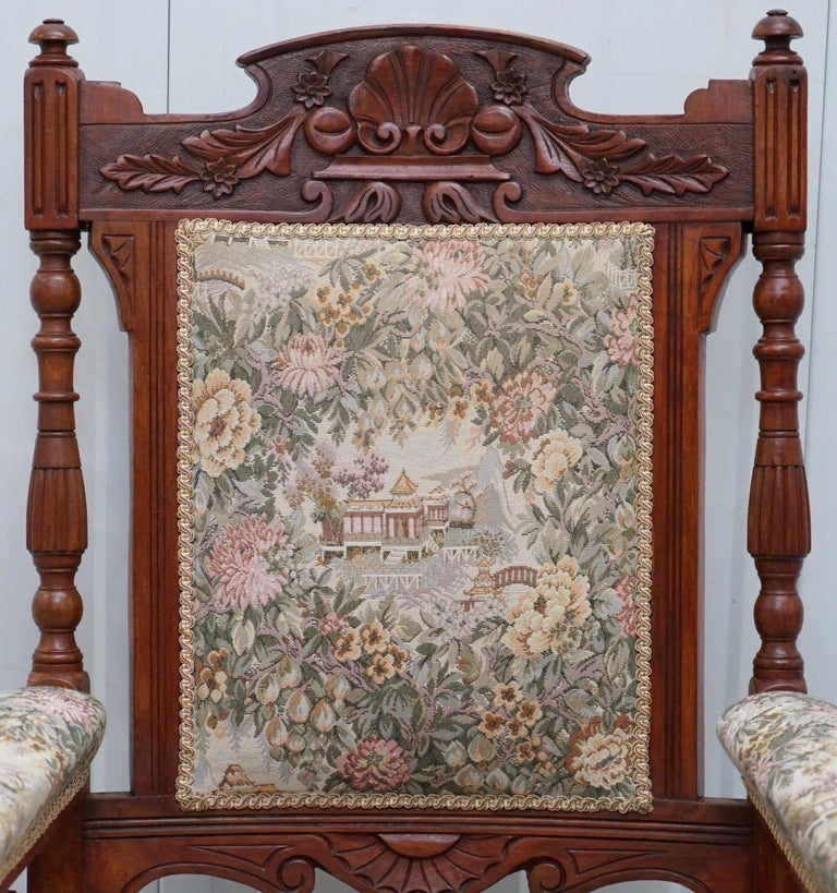 Hand-Carved Victorian Embroidered Carved Oak Framed Library Reading Chair Gillows Style Legs For Sale