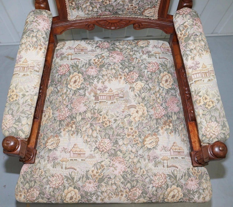 19th Century Victorian Embroidered Carved Oak Framed Library Reading Chair Gillows Style Legs For Sale