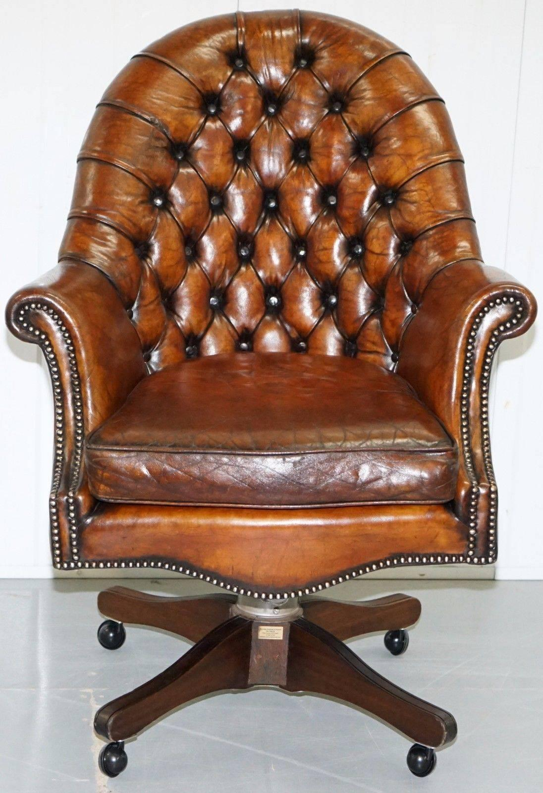 Restored 1940 Hillcrest Chesterfield Antique Whisky Brown Leather Captains  Chair 2