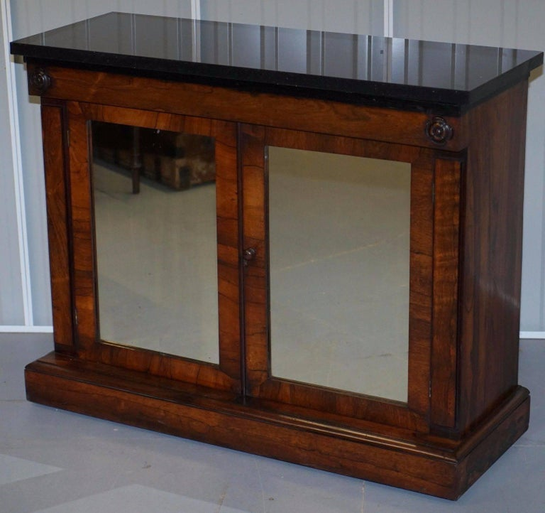 Antique With Marble Top And Mirrored Doors Credenza
