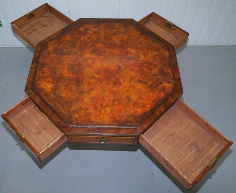 Fully Stamped Regency circa 1820 Octagonal Drum Center Table Brown Leather Top For Sale 1