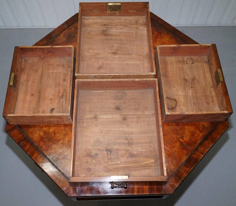 Fully Stamped Regency circa 1820 Octagonal Drum Center Table Brown Leather Top For Sale 2
