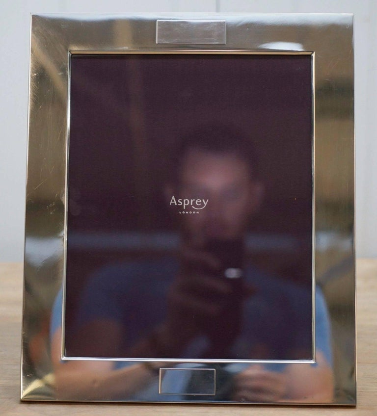 Pair Of Asprey London Crosshatch Sterling Silver Picture Frames For