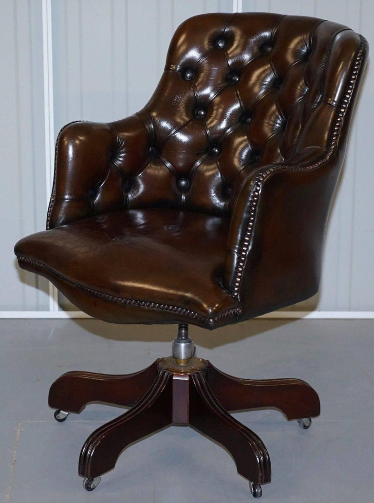 Fully Restored Chesterfield Cigar Brown Leather Captains