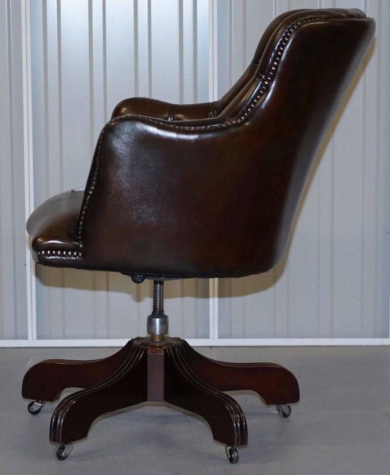 fully restored chesterfield cigar brown leather captains chair