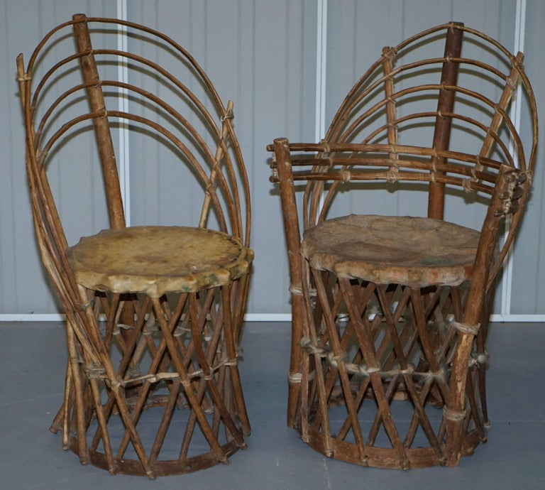 We are delighted to offer for sale this stunning and very rare vintage / antique  Mexican - Rare Mexican Equipale Antique Native American Tribal Chairs Side And