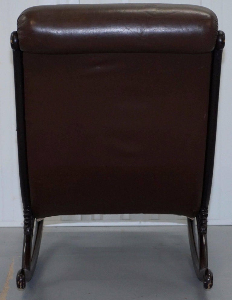 Swell 1970 Danish Brown Leather Chesterfield Slipper Rocking Creativecarmelina Interior Chair Design Creativecarmelinacom