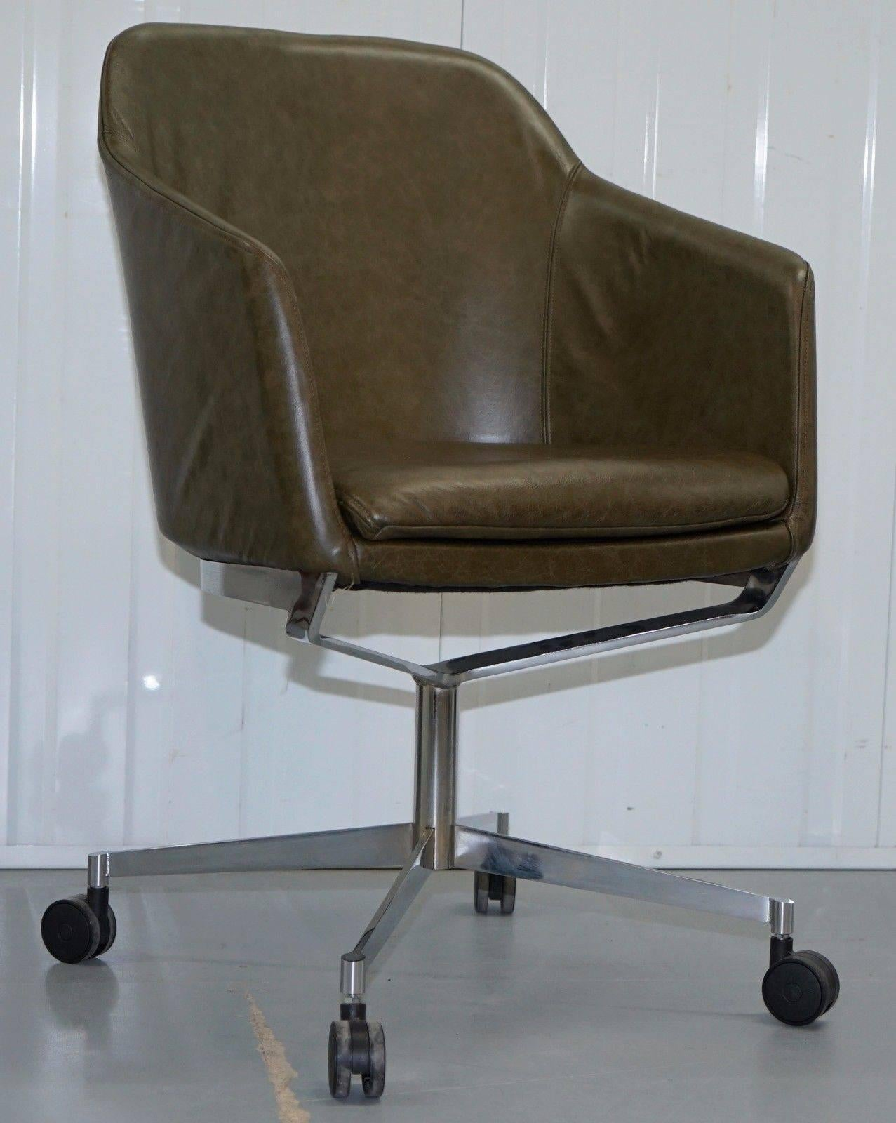 We Are Delighted To Offer For Sale One Of Two Retro Vintage Heritage Green  Leather Office