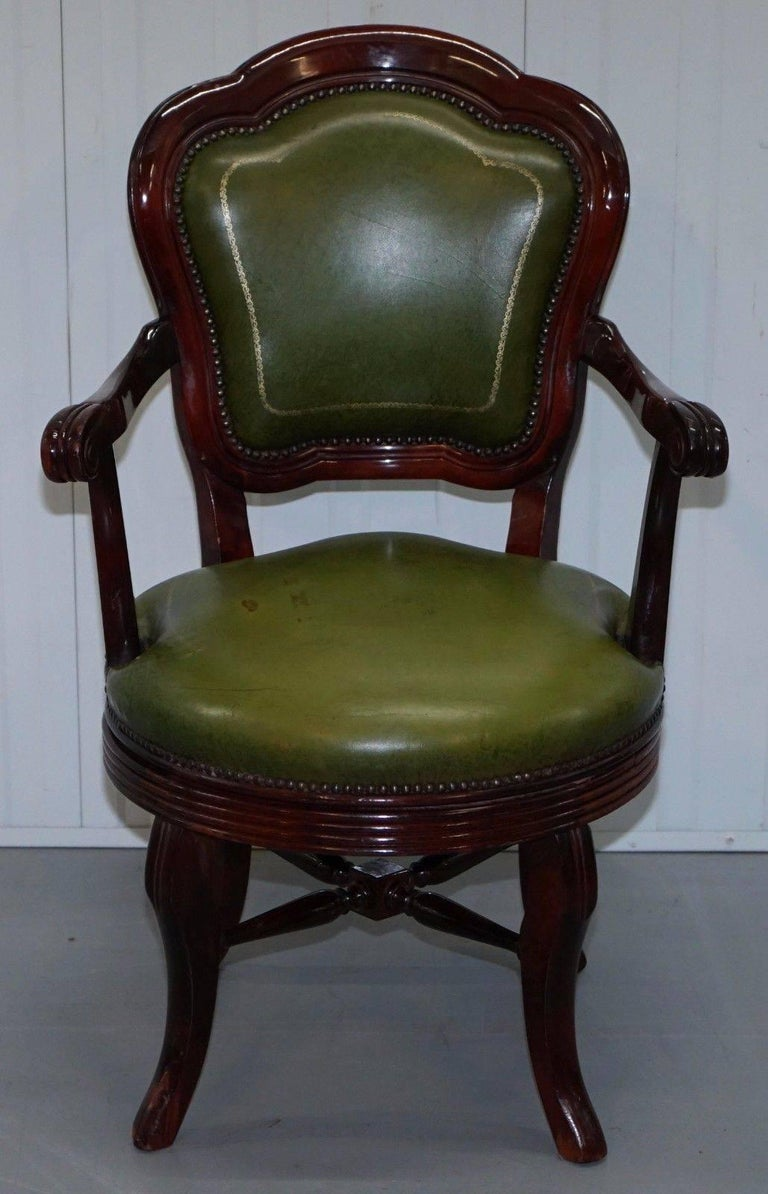Vintage Green Leather With Gold Tooling Mahogany Captains