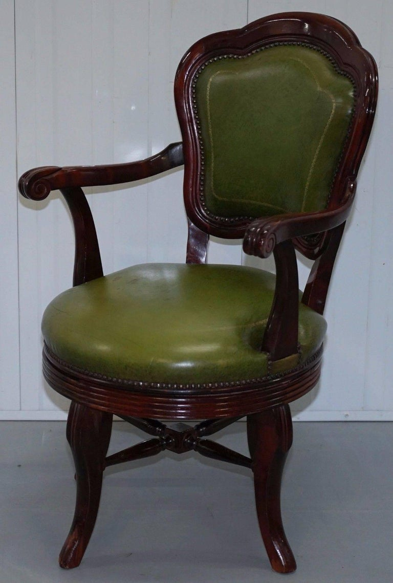 Magnificent Vintage Green Leather With Gold Tooling Mahogany Captains Swivel Office Chair Bralicious Painted Fabric Chair Ideas Braliciousco