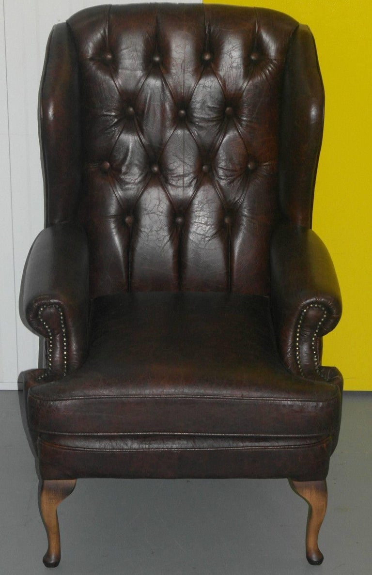 We are delighted to offer for sale this new Jameson seating Henley wingback  Queen Anne aged - New Aged Vintage Leather Jameson Seating Henley Wingback Queen Anne