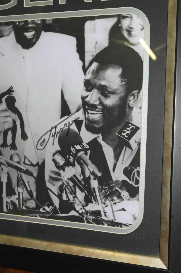 American Signed Joe Frazier Thrilla in Manilla & Muhammad Ali Boxing Picture Autographed For Sale