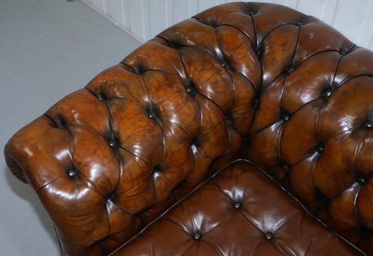 Hand-Carved Fully Sprung Thomas Chippendale Restored Aged Brown Leather Chesterfield Sofa For Sale