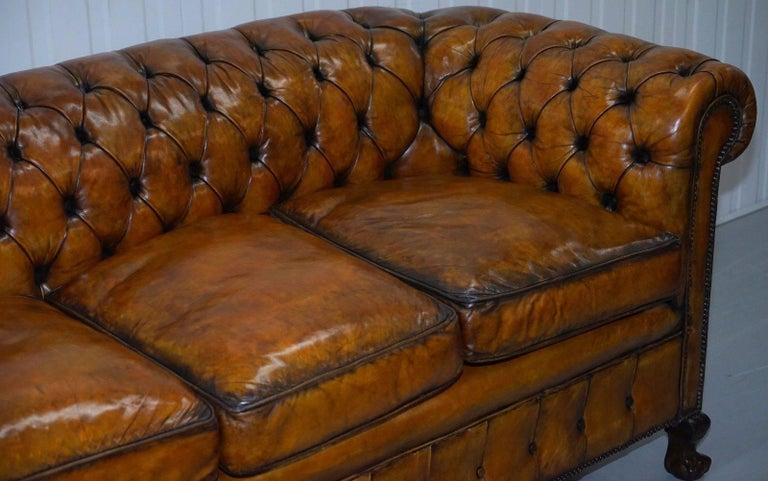 Hand-Carved Fully Restored Victorian Chesterfield Brown Leather Club Sofa Claw and Ball Feet For Sale