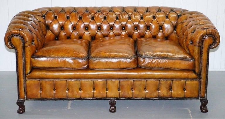 We are delighted to offer for sale this stunning fully restored late Victorian Chesterfield club sofa with Thomas Chippendale style claw & ball feet  A truly remarkable find, I have only ever seen one or two early Chesterfield club sofas with the