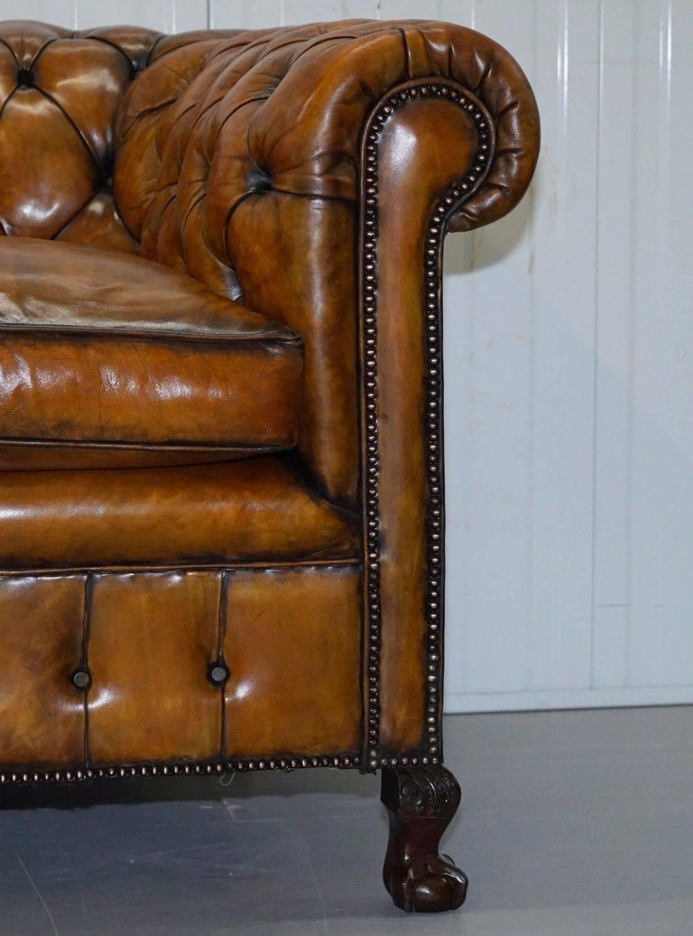 19th Century Fully Restored Victorian Chesterfield Brown Leather Club Sofa Claw and Ball Feet For Sale
