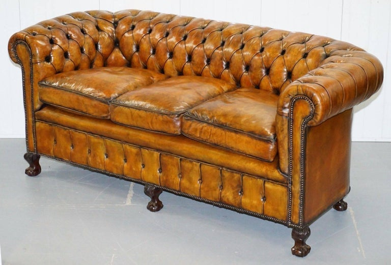 Late Victorian Fully Restored Victorian Chesterfield Brown Leather Club Sofa Claw and Ball Feet For Sale
