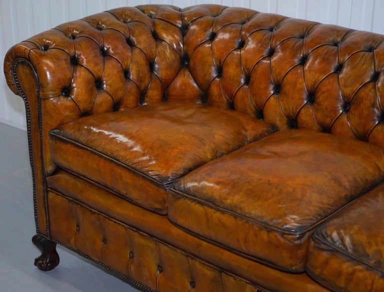 British Fully Restored Victorian Chesterfield Brown Leather Club Sofa Claw and Ball Feet For Sale