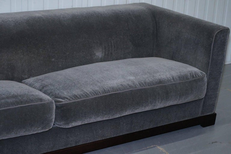 Contemporary Promemoria Wanda Four-Seat Grey Velvet Silky Sofa, Feather Filled For Sale