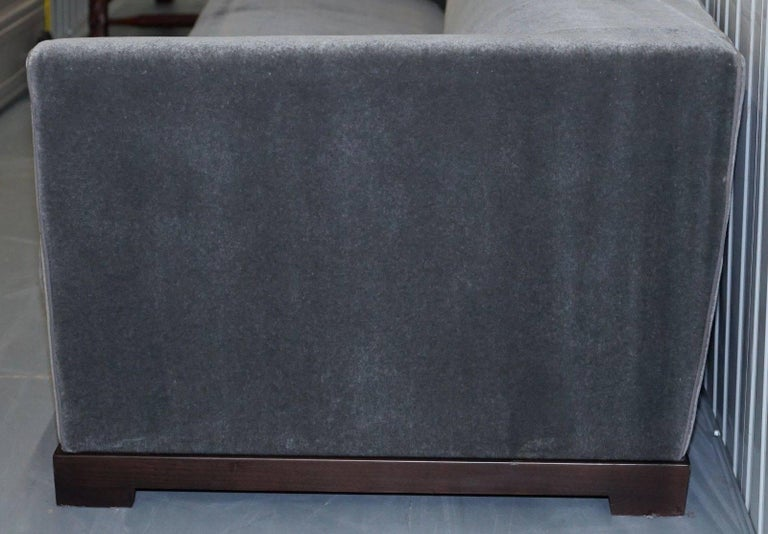 Hand-Carved Promemoria Wanda Four-Seat Grey Velvet Silky Sofa, Feather Filled For Sale