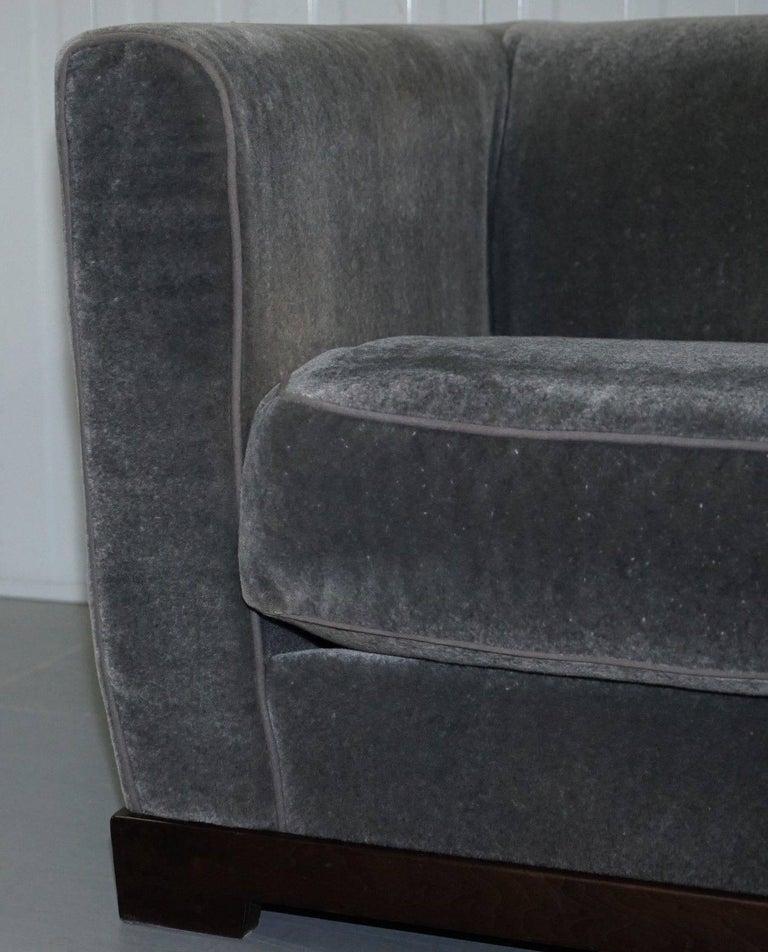 Italian Promemoria Wanda Four-Seat Grey Velvet Silky Sofa, Feather Filled For Sale