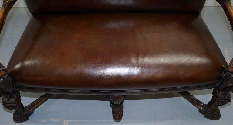 Italian Andrea Brustolon Carved Venetian Baroque Walnut Settee Sofa Bench Brown Leather For Sale