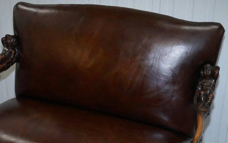Andrea Brustolon Carved Venetian Baroque Walnut Settee Sofa Bench Brown Leather In Excellent Condition For Sale In London, GB