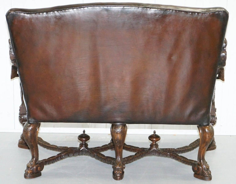 Andrea Brustolon Carved Venetian Baroque Walnut Settee Sofa Bench Brown Leather For Sale 4