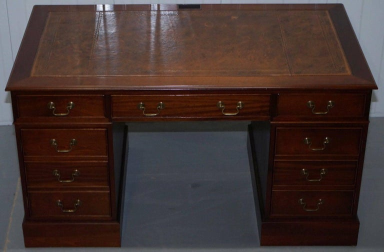 We Are Delighted To Offer For This Lovely Twin Pedestal Partner Desk With Brown Leather