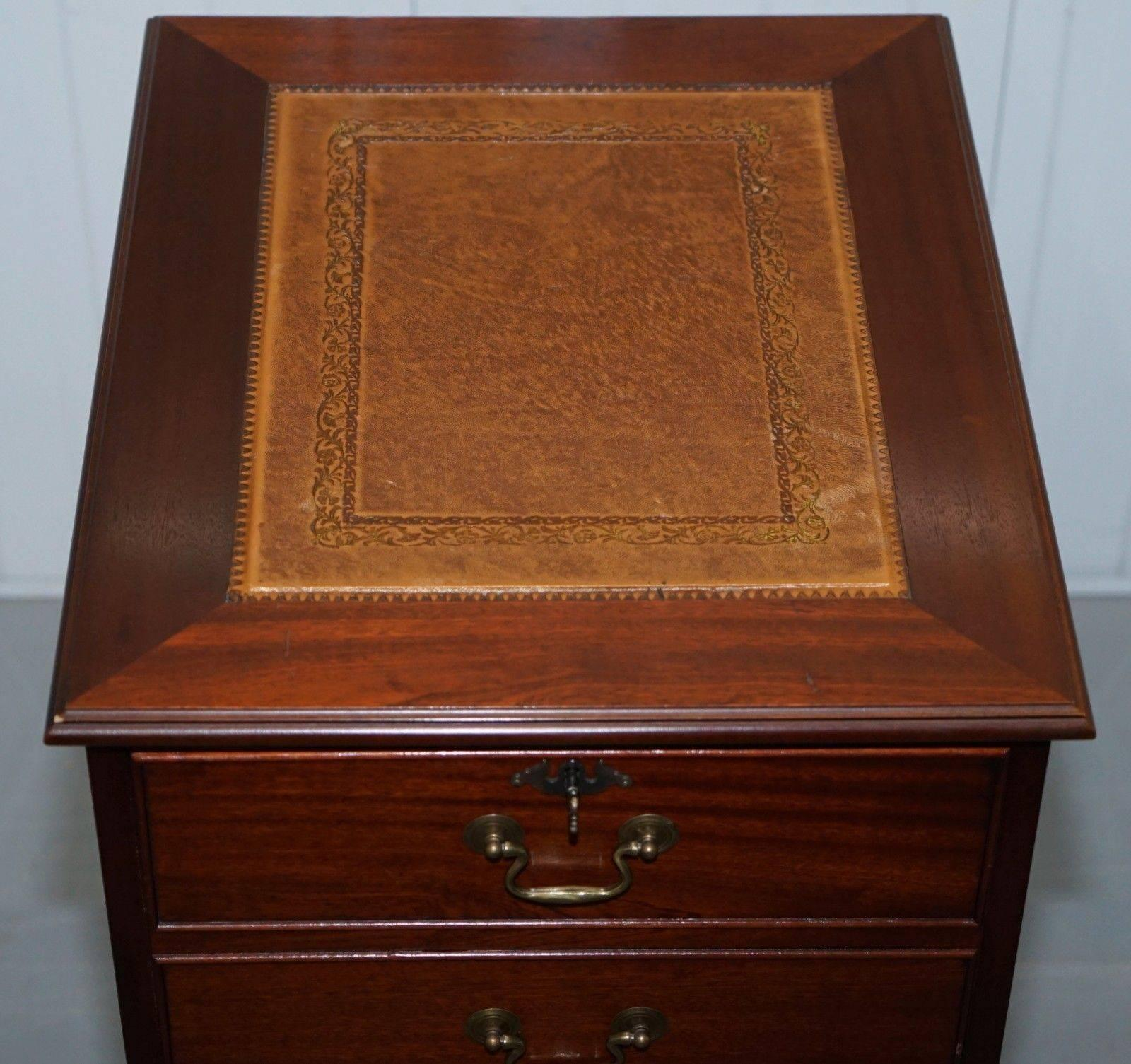 Victorian Three Drawer Tall Mahogany Filing Cabinet Brown Leather Top For  Sale
