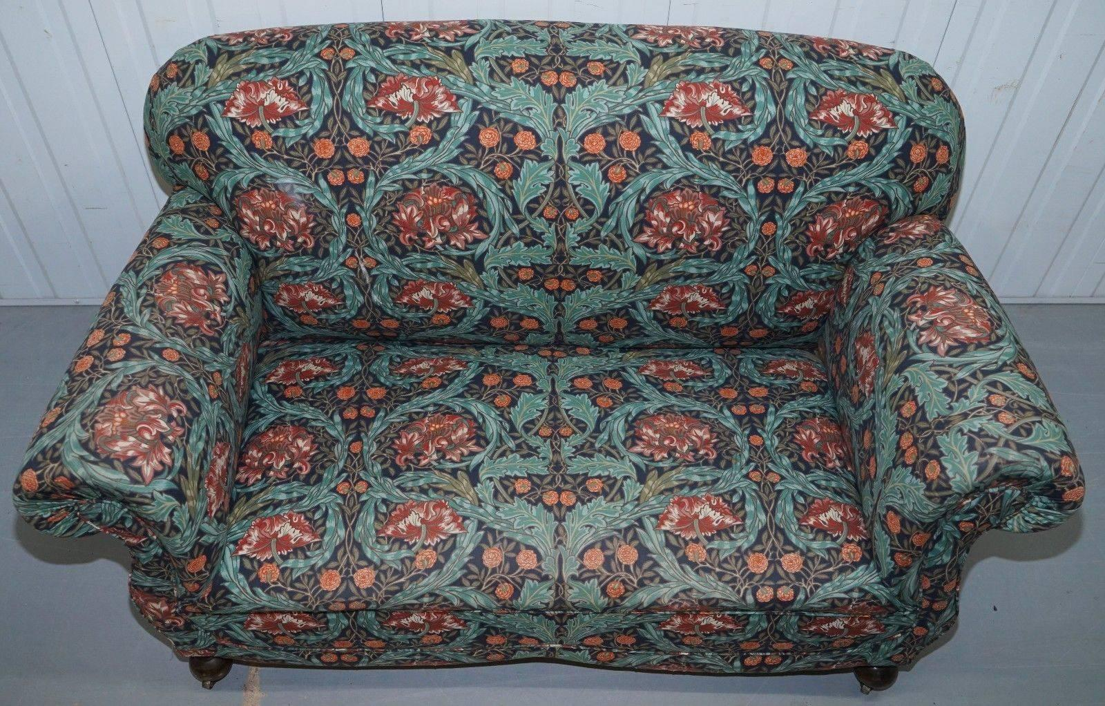 British Victorian Drop Arm Club Sofa In William Morris Upholstery Fabric  Part Of A Suite For