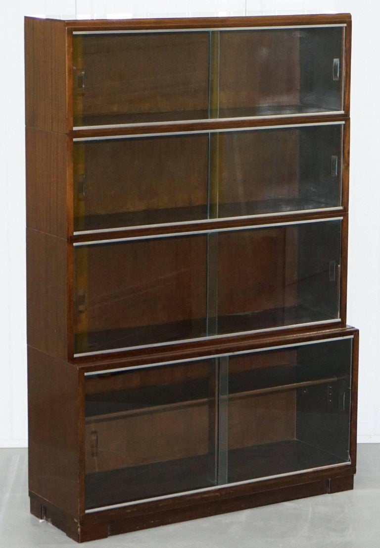 1950s Mahogany Modular Minty Oxford Vintage Stacking Legal Bookcase Glass Doors For 4