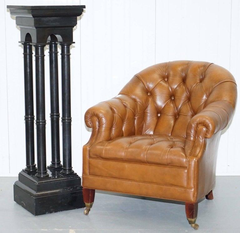 We are delighted to offer for sale this stunning hand carved solid black marble four column pillared stand with rotating top for busts and statues  A really rare find, I would say its late Victorian, exceptionally heavy, the spiral cast metal dial