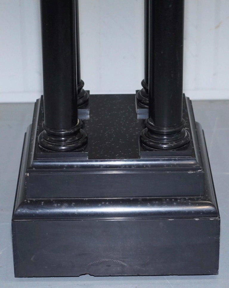 Rare Black Marble Four Pillar Column Stand with Rotating Top for Busts Statues For Sale 4