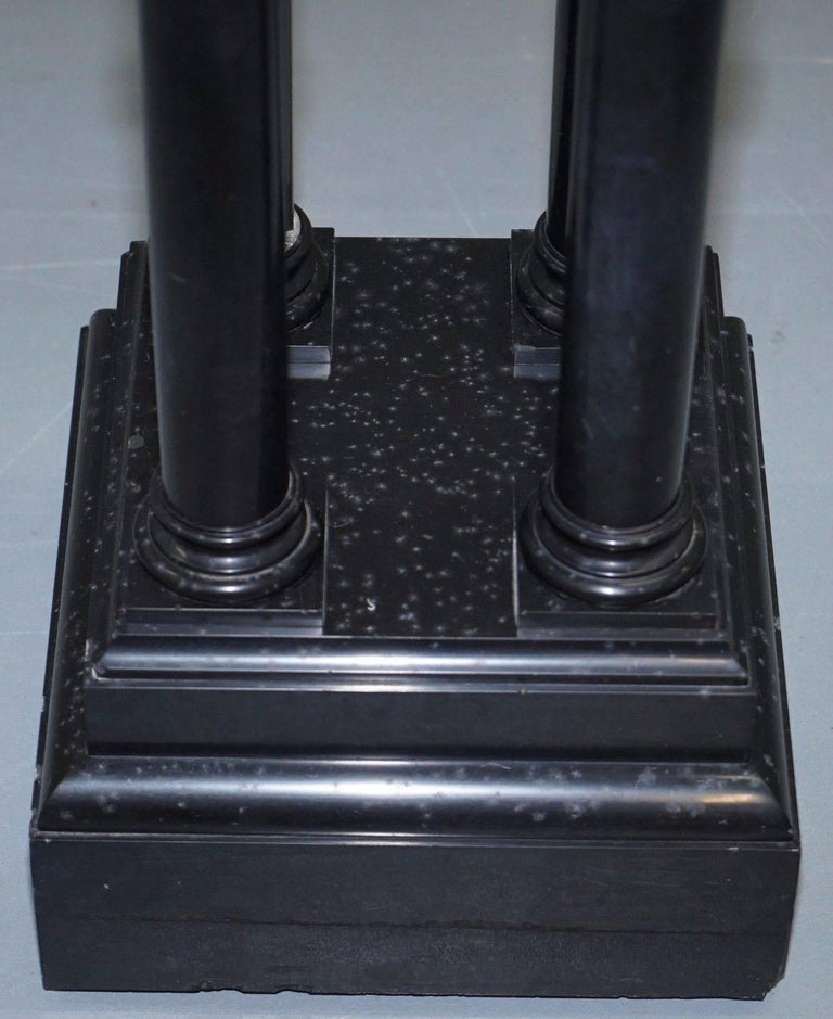 Danish Rare Black Marble Four Pillar Column Stand with Rotating Top for Busts Statues For Sale