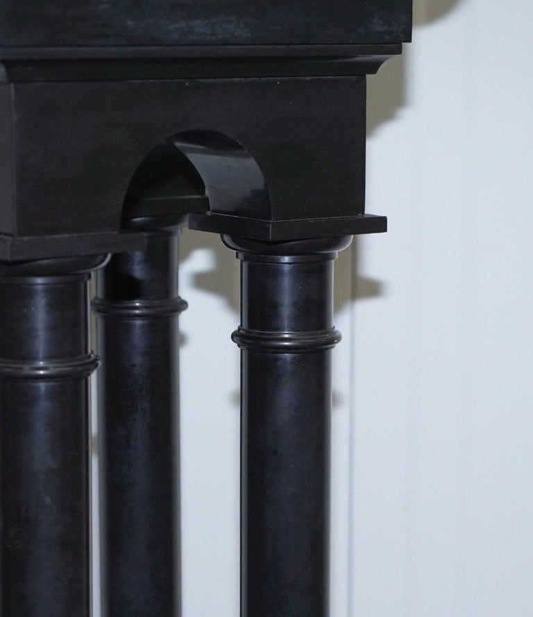 Rare Black Marble Four Pillar Column Stand with Rotating Top for Busts Statues For Sale 2