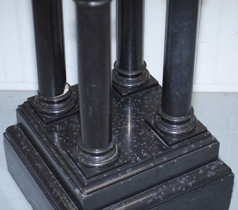 Rare Black Marble Four Pillar Column Stand with Rotating Top for Busts Statues For Sale 3