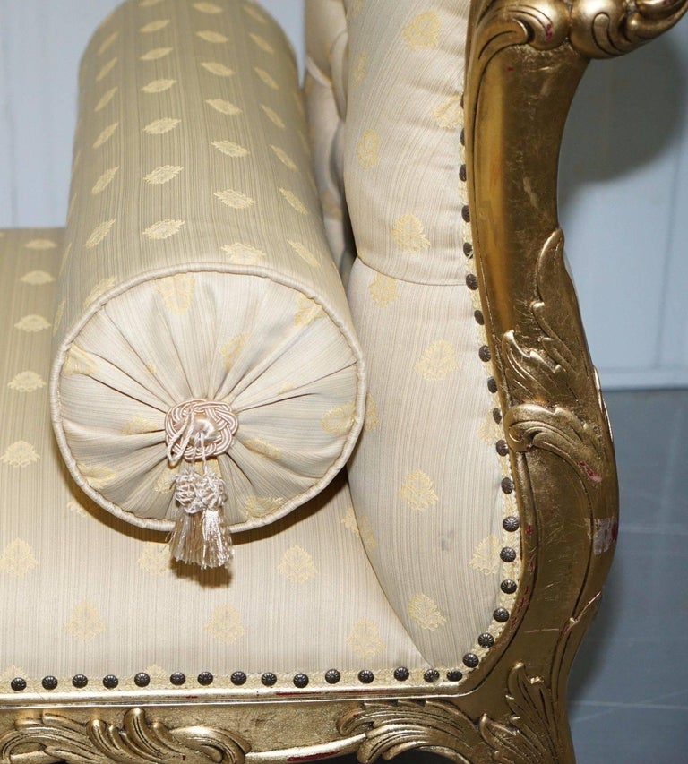 19th Century Large 3-4 Seat Victorian Gold Leaf Painted French Daybed or Chaise Longue For Sale
