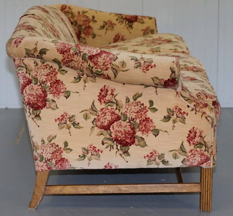 Fabric Regency Chippendale Style Camel Back Humpback Floral Upholstery Large Sofa For Sale