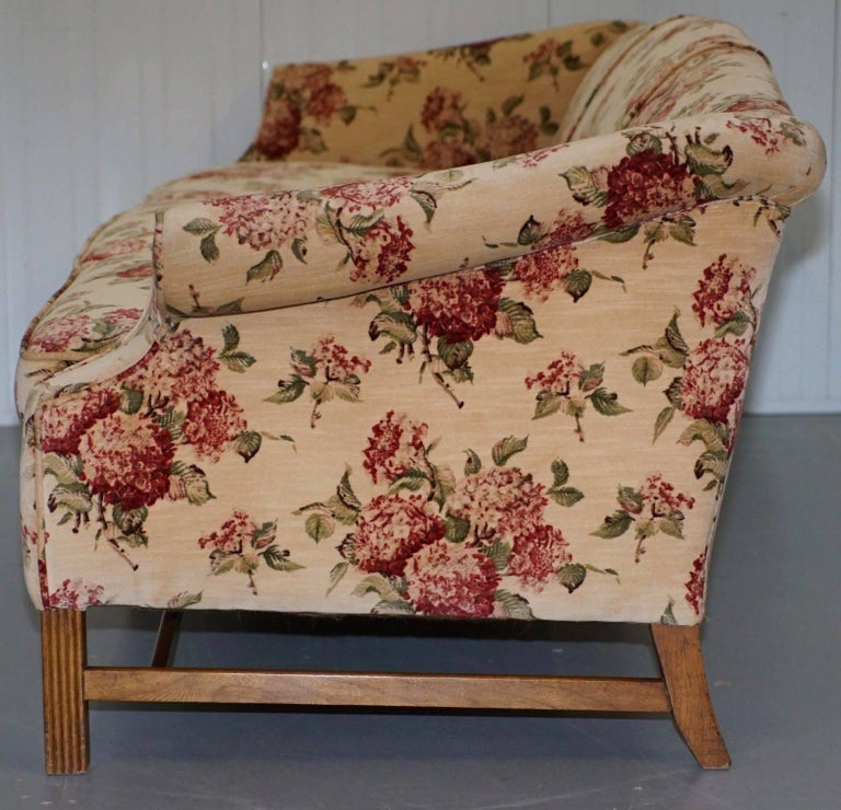 Regency Chippendale Style Camel Back Humpback Floral Upholstery Large Sofa For Sale 1