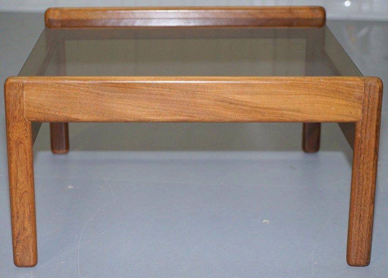 Pair of Mid-Century Modern 1960s Danish Teak Side Tables with Glass Tops Lovely For Sale 3