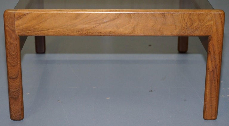 Pair of Mid-Century Modern 1960s Danish Teak Side Tables with Glass Tops Lovely For Sale 5