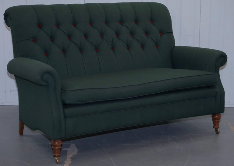 Victorian Wellington Model Howard Style Chesterfield Green Upholstery Two Seat Bench Sofa For