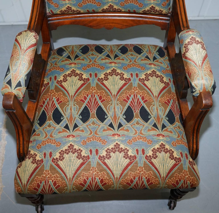 English Libertys London Ianthe Upholstery Victorian Walnut Library Reading Armchair Lion For Sale