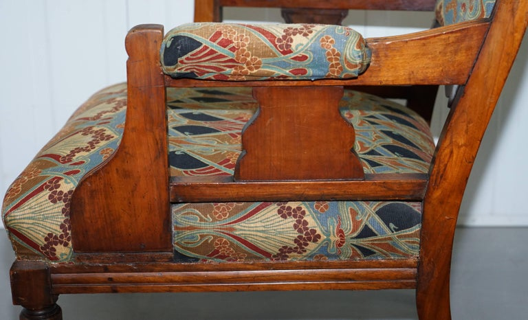 Libertys London Ianthe Upholstery Victorian Walnut Library Reading Armchair Lion For Sale 9