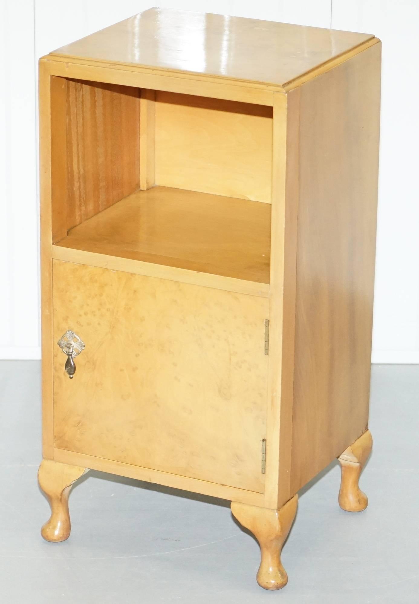 Art Deco Heirloom Furniture Est 1889 Burr Walnut Bedside Table Cabinet With  Cupboard For Sale